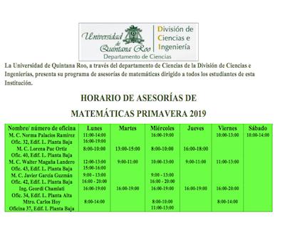 ASESORÍAS DE MATEMÁTICAS
